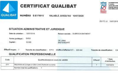 Obtention de la certification Qualibat 2111 Maçonnerie et ouvrages en béton armé