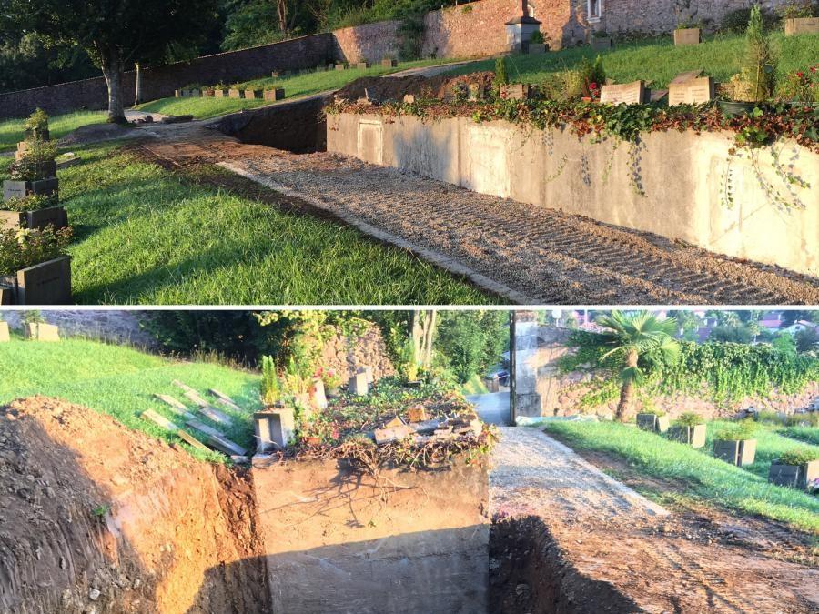 Démarrage d'une opération atypique : la création d'un caveau dans un cimetière privé